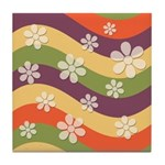 Floral Striped Hippie Art Tile Drink Coaster
