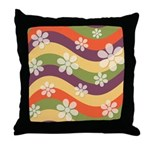 Floral Striped Hippie Art Throw Pillow