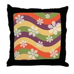 Floral Striped Hippie Art Throw Pillow