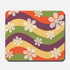 Floral Striped Hippie Art Mousepad