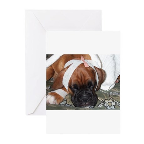 Get well soon boxer dog Greeting Cards (Pk of 20)