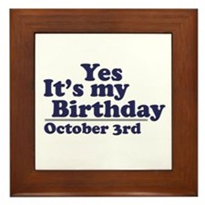 October 3rd Birthday Framed Tile