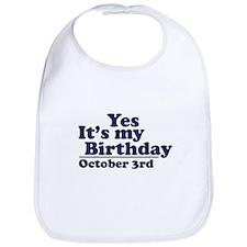 October 3rd Birthday Bib
