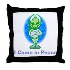 Little Green Man Throw Pillow