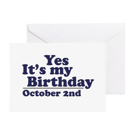 October 2nd Birthday Greeting Card