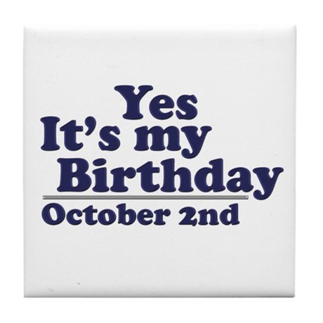 October 2nd Birthday Tile Coaster