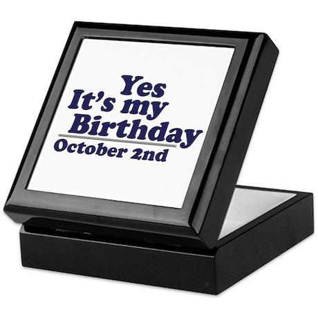 October 2nd Birthday Keepsake Box