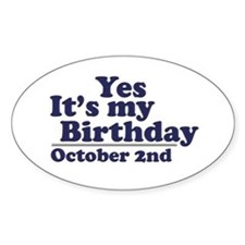 October 2nd Birthday Oval Decal