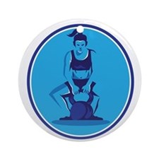 Female Trainer Lifting Kettleball Circle Retro Rou