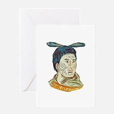 Maori Chieftain Warrior Head Drawing Greeting Card