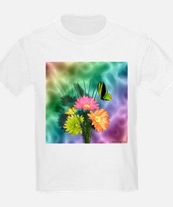 Painted Daisies and Butterfly T-Shirt