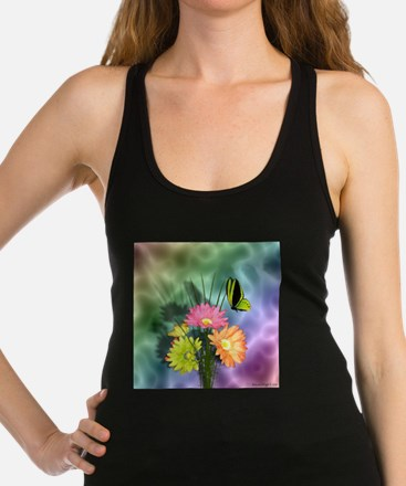 Painted Daisies and Butterfly Racerback Tank Top