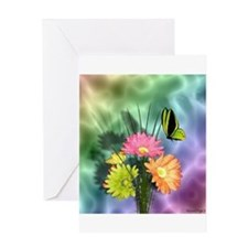 Painted Daisies and Butterfly Greeting Cards