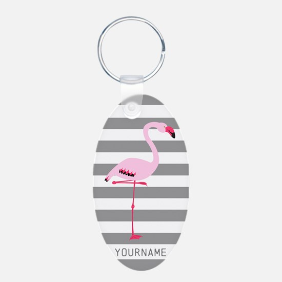 Monogrammed Stripes Flaming Keychains