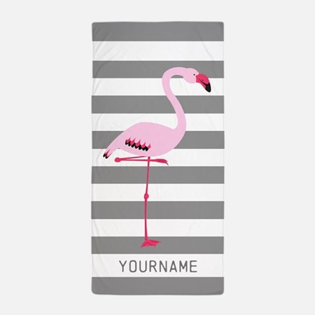 Monogrammed Flamingo Beach Towel