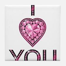 i love you pink sparkly diamond Tile Coaster