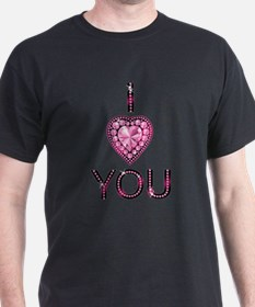 i love you pink sparkly diamond T-Shirt