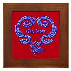 Mon Coeur Red Framed Art Tile