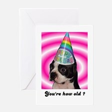 your how old boston face birthday Greeting Card