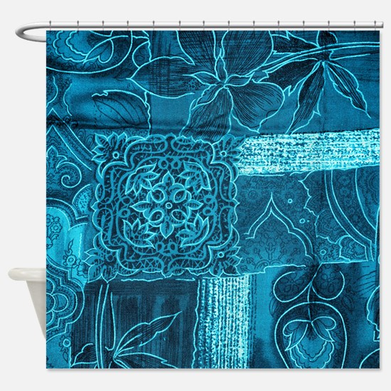 BLUE PATCHWORK Shower Curtain