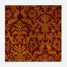 ROYAL RED AND GOLD Tile Coaster