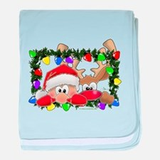 NEW! Sneaky Santa and Rudolph baby blanket