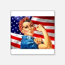 "Cute Patriotic women Square Sticker 3"" x 3"""