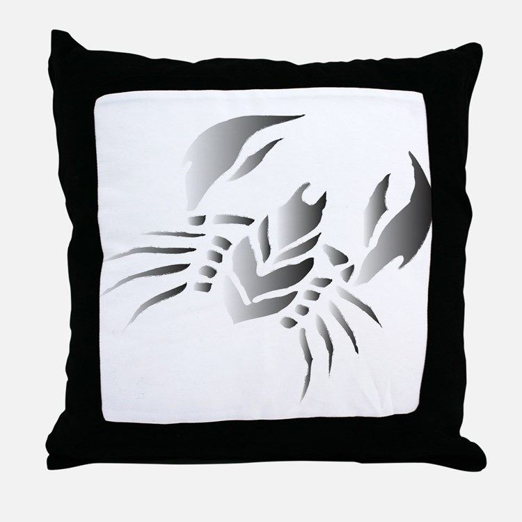 Painted Tribal Crab Throw Pillow