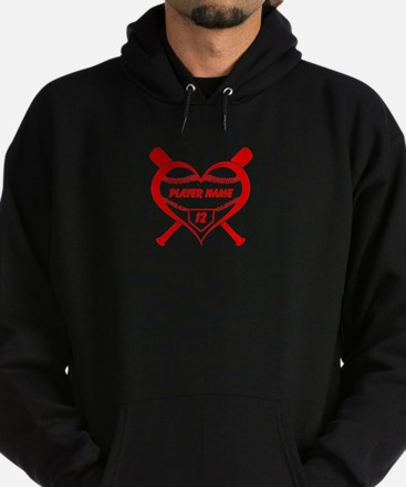 Personalized Baseball Player Heart Hoodie