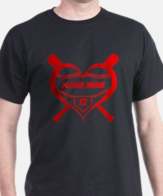 Personalized Baseball Player Heart T-Shirt
