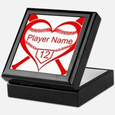 Personalized Baseball Player Heart Keepsake Box