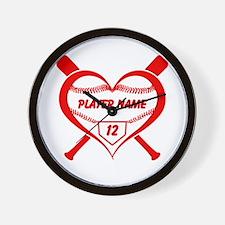 Personalized Baseball Player Heart Wall Clock