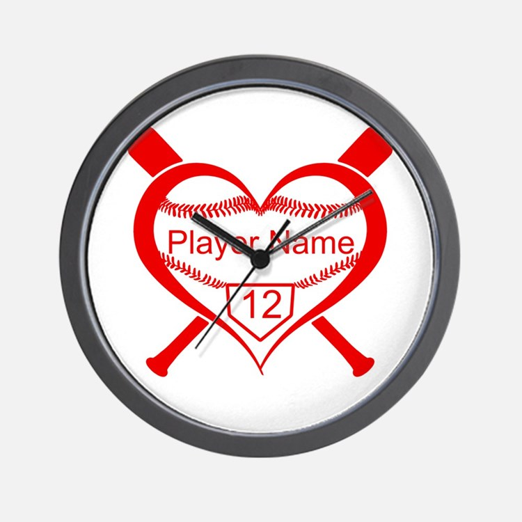 Personalized Baseball Player Heart Wall Clock