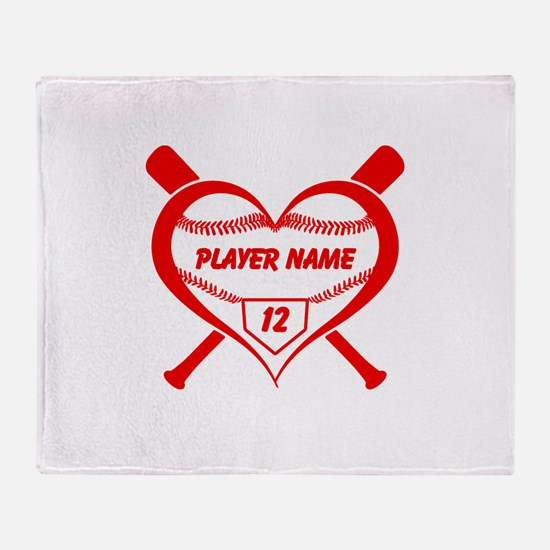 Personalized Baseball Player Heart Throw Blanket