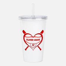 Personalized Baseball Player Heart Acrylic Double-