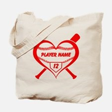 Personalized Baseball Player Heart Tote Bag
