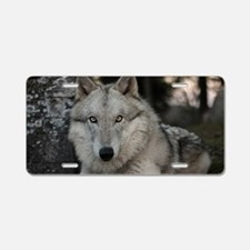 Cool White wolf Aluminum License Plate