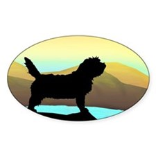 Petit Basset By The Sea Oval Bumper Stickers