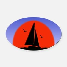 Sailboat at Sunset Oval Car Magnet