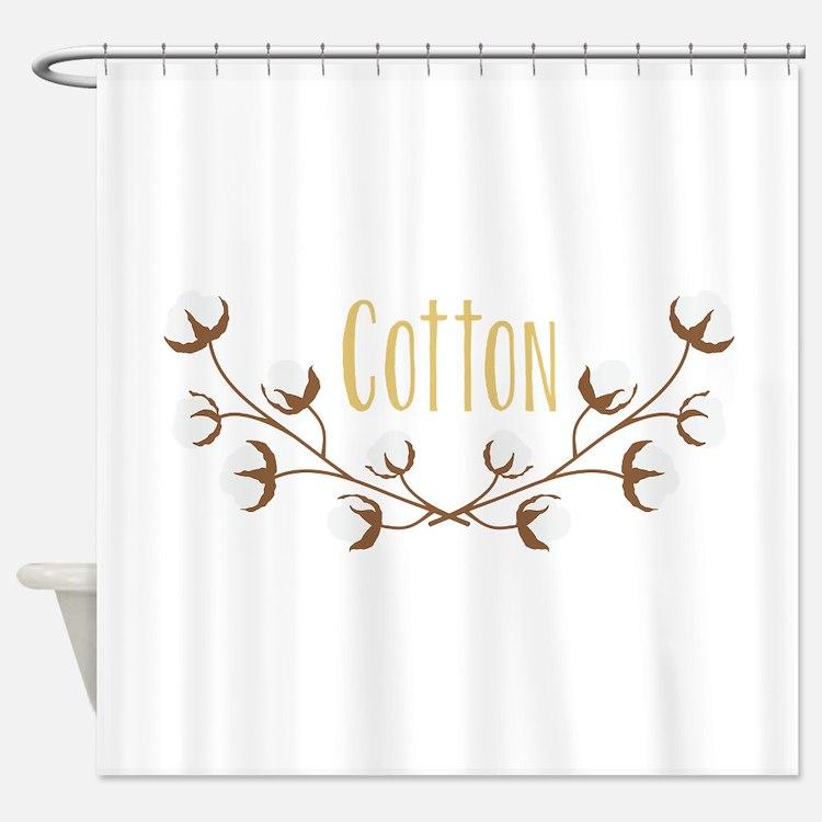 Cotton Plant Shower Curtains Cotton Plant Fabric Shower Curtain Liner