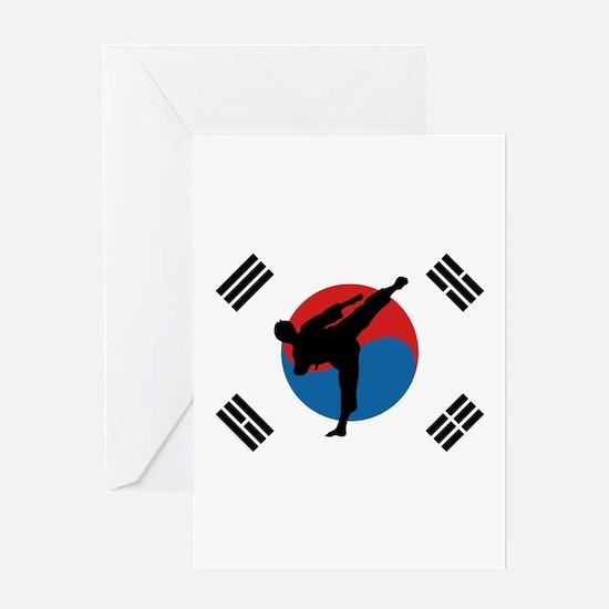 Taekwondo Flag Greeting Cards