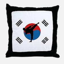 Taekwondo Flag Throw Pillow