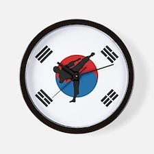 Taekwondo Flag Wall Clock