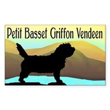 Petit Basset By Sea (w/txt) Rectangle Decal