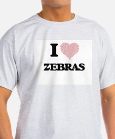 I love Zebras (Heart Made from Words) T-Shirt