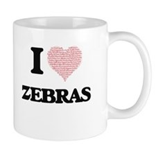 I love Zebras (Heart Made from Words) Mugs