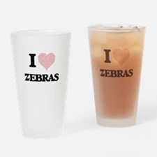 I love Zebras (Heart Made from Word Drinking Glass