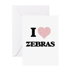 I love Zebras (Heart Made from Word Greeting Cards