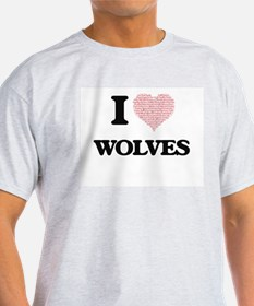 I love Wolves (Heart Made from Words) T-Shirt