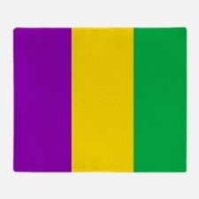 Purple Green Gold Vertical Stripes Throw Blanket